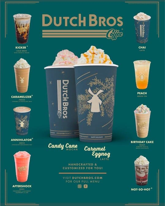 Dutch Bros holiday menu